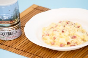 Risotto with ham and melon